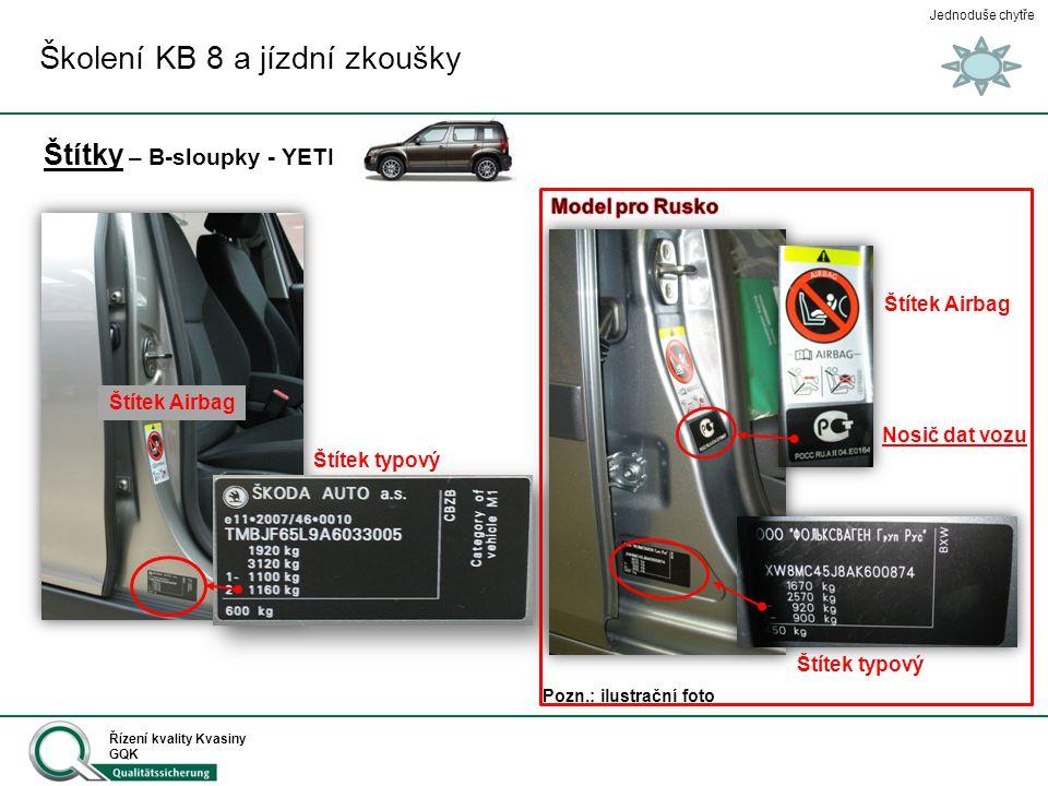 Jednoduše chytře Řízení kvality Kvasiny GQK Štítky – B-sloupky - YETI Školení KB 8 a jízdní zkoušky Štítek typový Štítek Airbag Pozn.: ilustrační foto