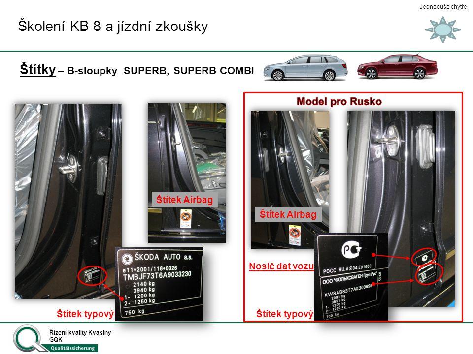 Jednoduše chytře Řízení kvality Kvasiny GQK Štítky – B-sloupky SUPERB, SUPERB COMBI Školení KB 8 a jízdní zkoušky Štítek typový Štítek Airbag Nosič da