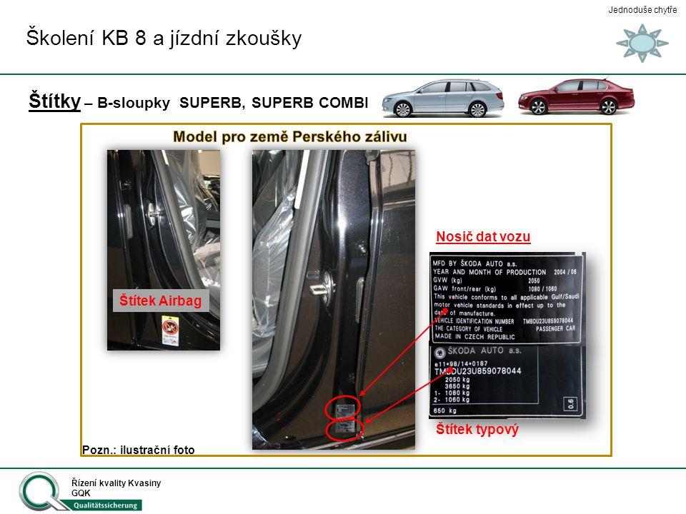Jednoduše chytře Řízení kvality Kvasiny GQK Štítky – B-sloupky SUPERB, SUPERB COMBI Nosič dat vozu Štítek typový Štítek Airbag Školení KB 8 a jízdní z