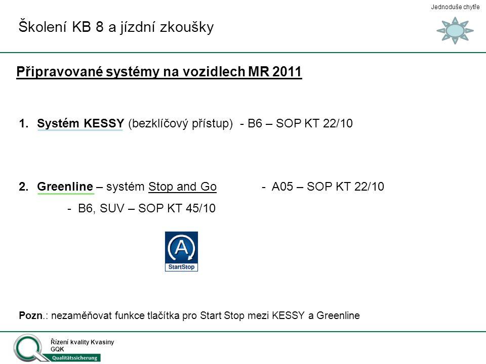 Jednoduše chytře Řízení kvality Kvasiny GQK Školení KB 8 a jízdní zkoušky Připravované systémy na vozidlech MR 2011 1.Systém KESSY (bezklíčový přístup