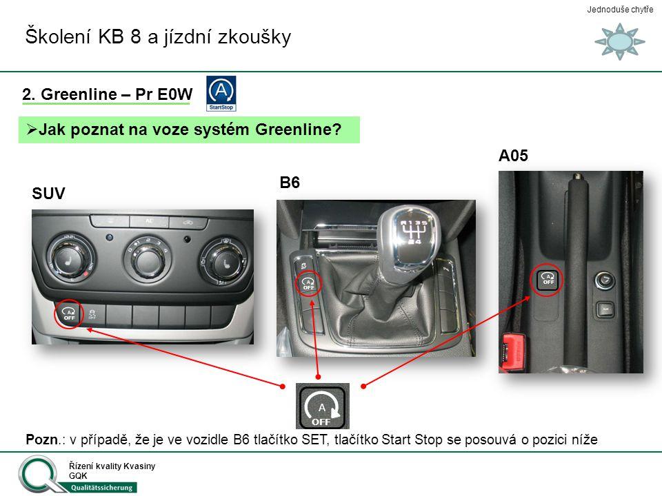 Jednoduše chytře Řízení kvality Kvasiny GQK Školení KB 8 a jízdní zkoušky 2. Greenline – Pr E0W  Jak poznat na voze systém Greenline? B6 SUV A05 A OF