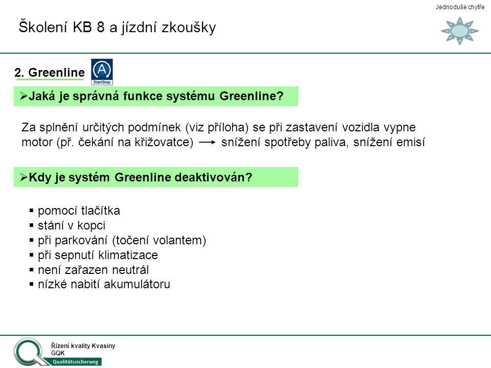 Jednoduše chytře Řízení kvality Kvasiny GQK Školení KB 8 a jízdní zkoušky 2. Greenline  Jaká je správná funkce systému Greenline? Za splnění určitých