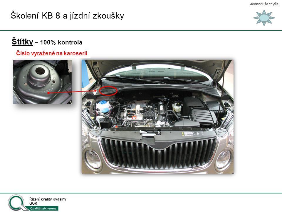 Jednoduše chytře Řízení kvality Kvasiny GQK Štítky - 100% kontrola Školení KB 8 a jízdní zkoušky KDLB Číslo pod předním sklem
