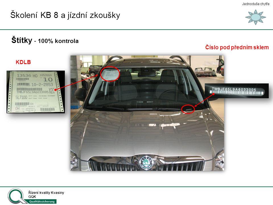 Jednoduše chytře Řízení kvality Kvasiny GQK Štítky – 100% kontrola Školení KB 8 a jízdní zkoušky Zákaznický štítek