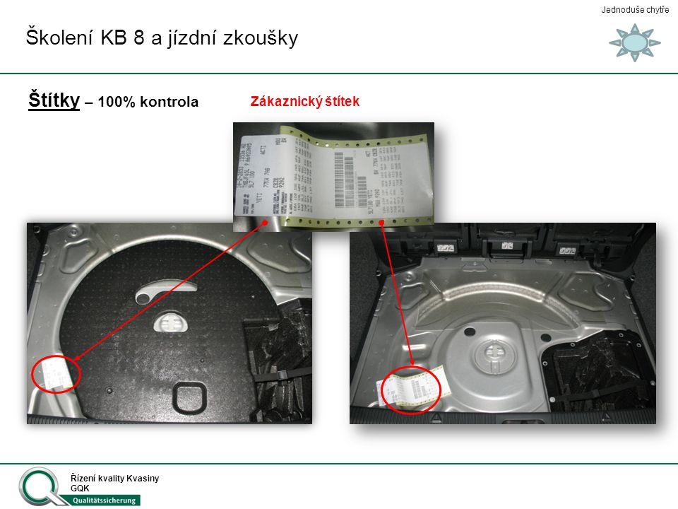 Jednoduše chytře Řízení kvality Kvasiny GQK Štítky Školení KB 8 a jízdní zkoušky Číslo na klíčích Štítek typový – 100% kontrola