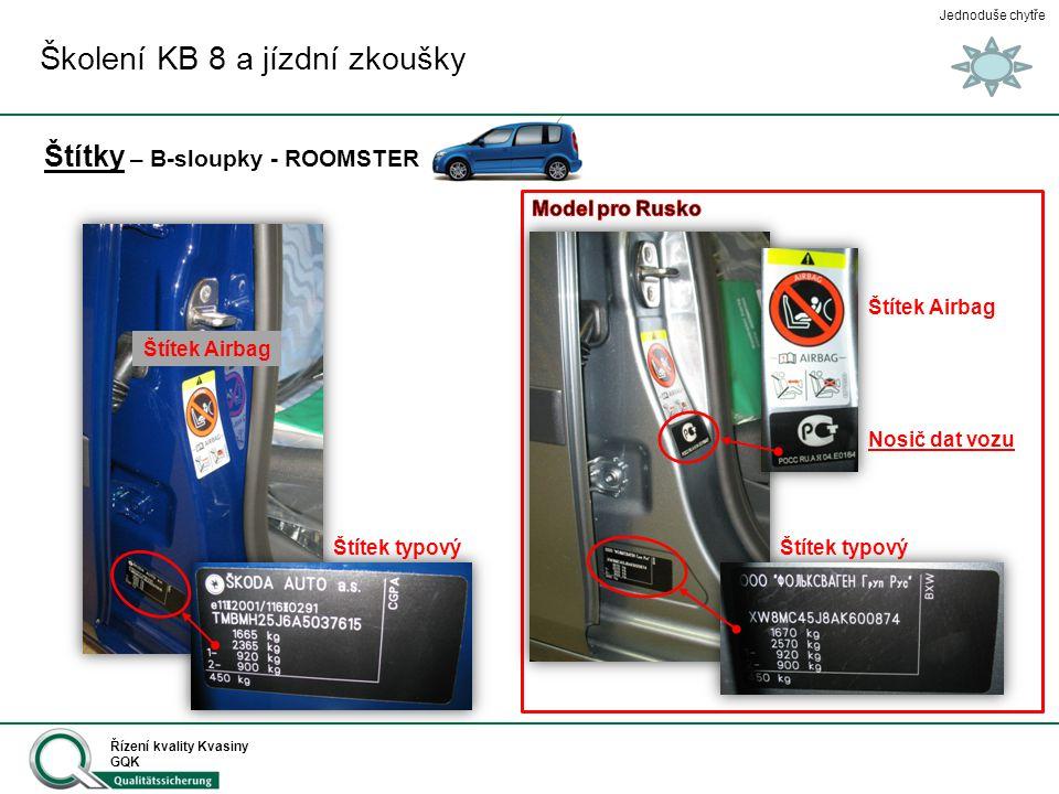 Jednoduše chytře Řízení kvality Kvasiny GQK Štítky – B-sloupky - ROOMSTER Školení KB 8 a jízdní zkoušky Štítek typový Nosič dat vozu Štítek Airbag