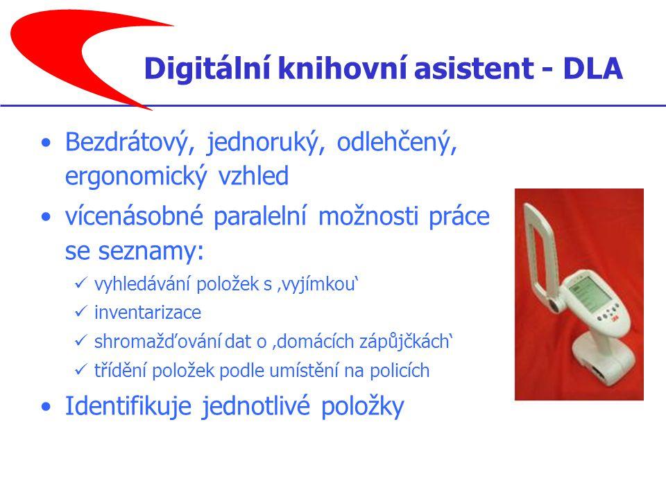 Bezdrátový, jednoruký, odlehčený, ergonomický vzhled vícenásobné paralelní možnosti práce se seznamy: vyhledávání položek s 'vyjímkou' inventarizace shromažďování dat o 'domácích zápůjčkách' třídění položek podle umístění na policích Identifikuje jednotlivé položky Digitální knihovní asistent - DLA