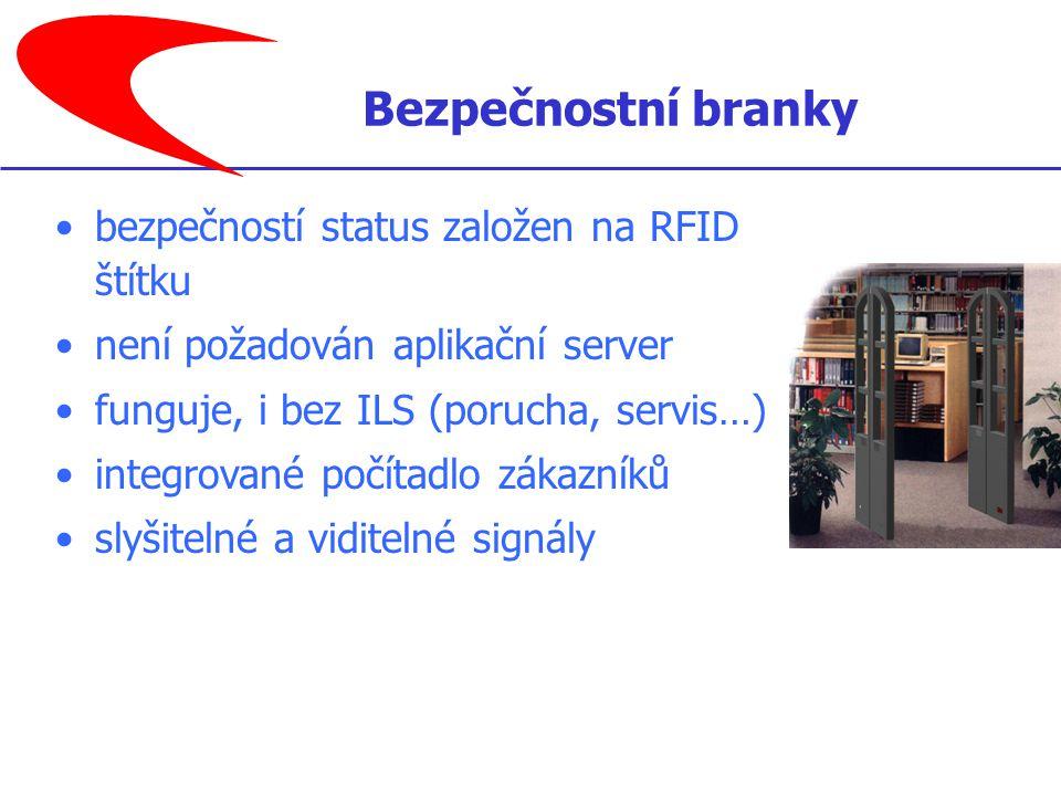 bezpečností status založen na RFID štítku není požadován aplikační server funguje, i bez ILS (porucha, servis…) integrované počítadlo zákazníků slyšitelné a viditelné signály Bezpečnostní branky