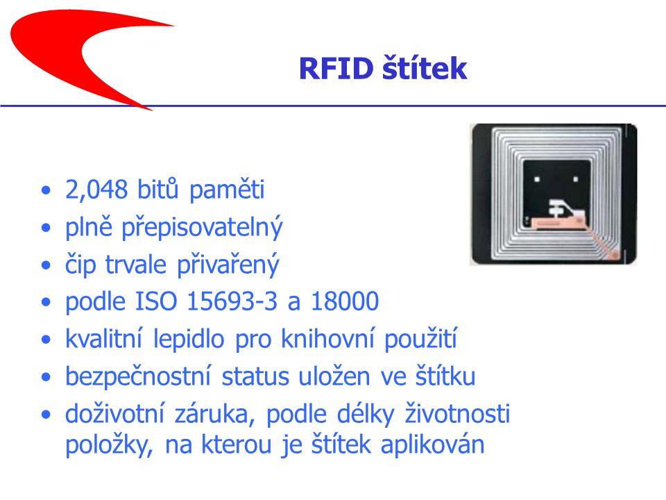 2,048 bitů paměti plně přepisovatelný čip trvale přivařený podle ISO 15693-3 a 18000 kvalitní lepidlo pro knihovní použití bezpečnostní status uložen ve štítku doživotní záruka, podle délky životnosti položky, na kterou je štítek aplikován RFID štítek