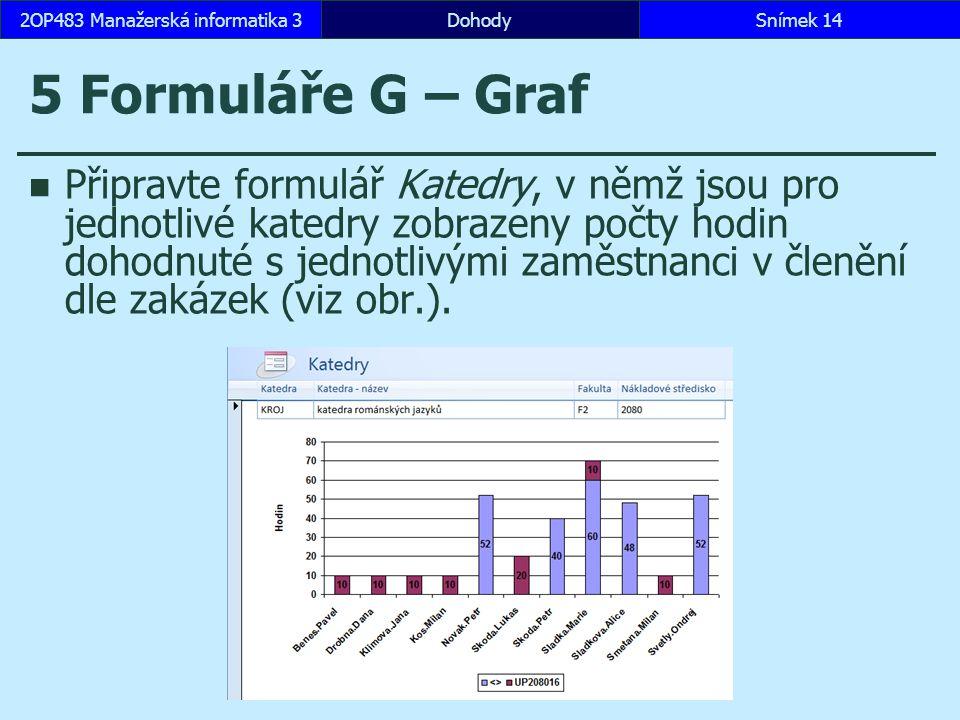 5 Formuláře G – Graf Připravte formulář Katedry, v němž jsou pro jednotlivé katedry zobrazeny počty hodin dohodnuté s jednotlivými zaměstnanci v členění dle zakázek (viz obr.).