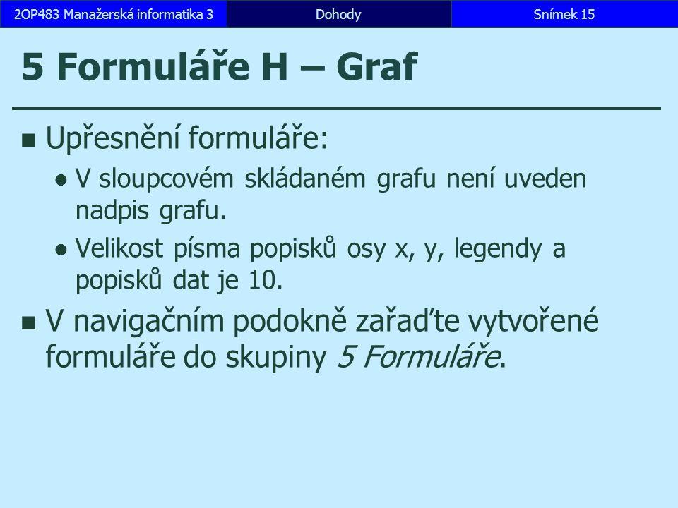 5 Formuláře H – Graf Upřesnění formuláře: V sloupcovém skládaném grafu není uveden nadpis grafu.