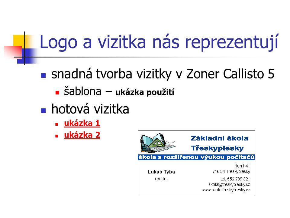 Logo a vizitka nás reprezentují snadná tvorba vizitky v Zoner Callisto 5 šablona – ukázka použití hotová vizitka ukázka 1 ukázka 2