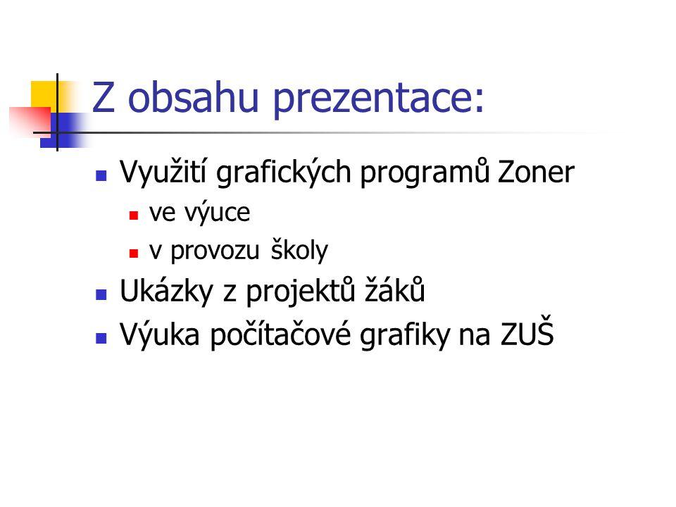 Z obsahu prezentace: Využití grafických programů Zoner ve výuce v provozu školy Ukázky z projektů žáků Výuka počítačové grafiky na ZUŠ