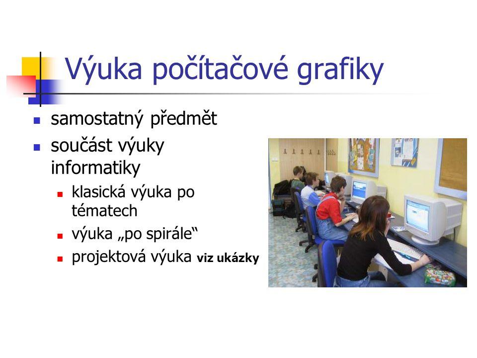 """Výuka počítačové grafiky samostatný předmět součást výuky informatiky klasická výuka po tématech výuka """"po spirále projektová výuka viz ukázky"""