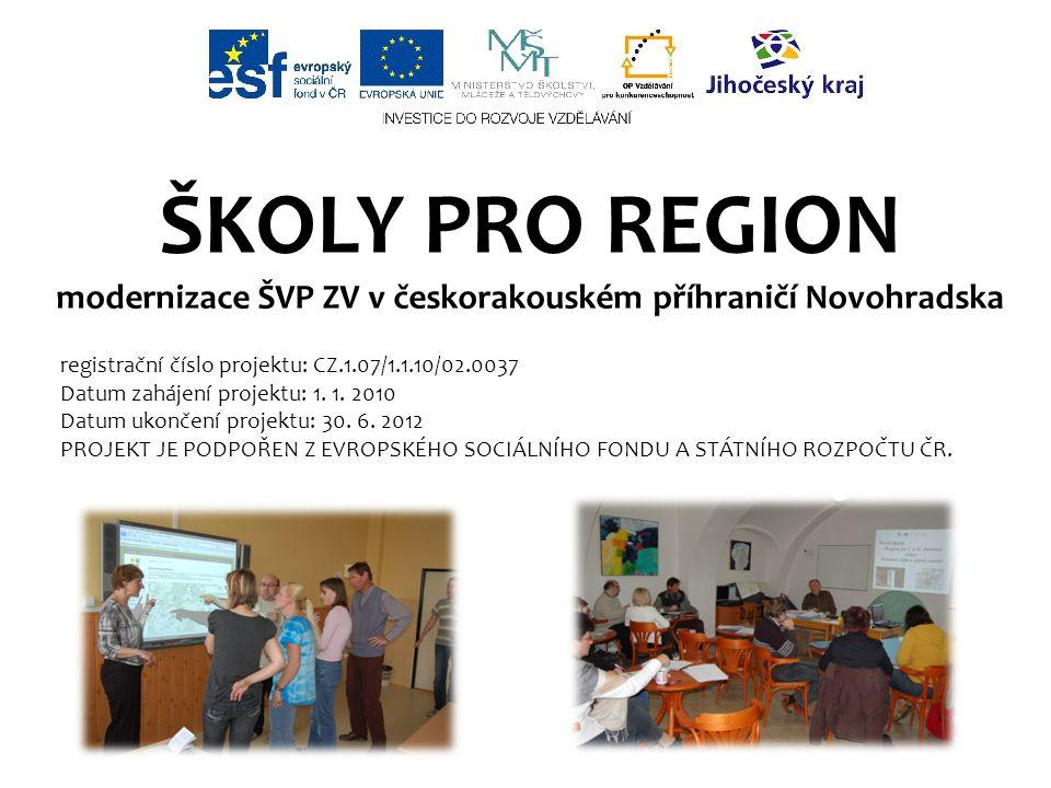 ŠKOLY PRO REGION modernizace ŠVP ZV v českorakouském příhraničí Novohradska registrační číslo projektu: CZ.1.07/1.1.10/02.0037 Datum zahájení projektu: 1.