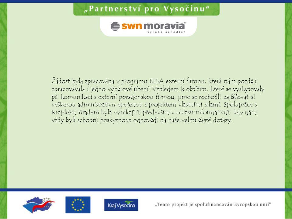 Žádost byla zpracována v programu ELSA externí firmou, která nám později zpracovávala i jedno výběrové řízení. Vzhledem k obtížím, které se vyskytoval