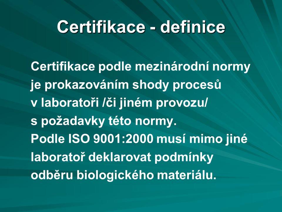Certifikace - definice Certifikace podle mezinárodní normy je prokazováním shody procesů v laboratoři /či jiném provozu/ s požadavky této normy.