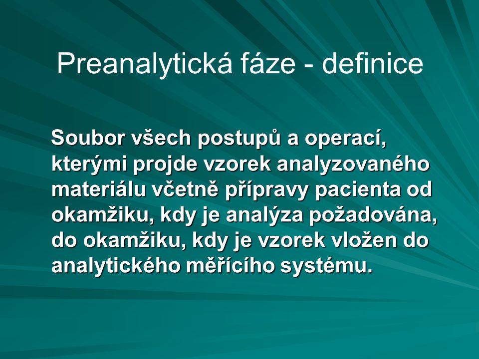 Preanalytická fáze - definice Soubor všech postupů a operací, kterými projde vzorek analyzovaného materiálu včetně přípravy pacienta od okamžiku, kdy je analýza požadována, do okamžiku, kdy je vzorek vložen do analytického měřícího systému.