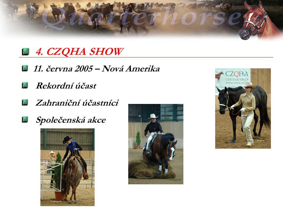 11. června 2005 – Nová Amerika Rekordní účast Zahraniční účastníci Společenská akce 4. CZQHA SHOW