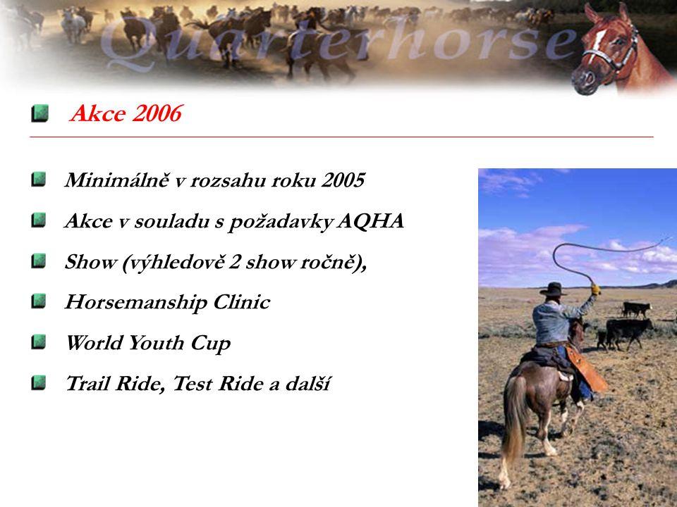 Akce 2006 Minimálně v rozsahu roku 2005 Akce v souladu s požadavky AQHA Show (výhledově 2 show ročně), Horsemanship Clinic World Youth Cup Trail Ride,