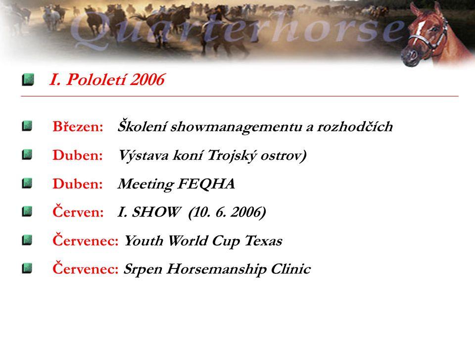 I. Pololetí 2006 Březen: Školení showmanagementu a rozhodčích Duben: Výstava koní Trojský ostrov) Duben: Meeting FEQHA Červen: I. SHOW (10. 6. 2006) Č