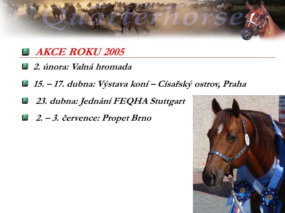 2. února: Valná hromada 15. – 17. dubna: Výstava koní – Císařský ostrov, Praha 23. dubna: Jednání FEQHA Stuttgart 2. – 3. července: Propet Brno AKCE R