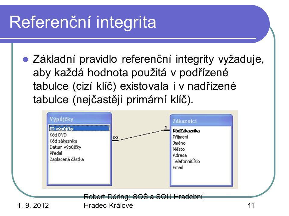 1. 9. 2012 Robert Döring; SOŠ a SOU Hradební, Hradec Králové11 Referenční integrita Základní pravidlo referenční integrity vyžaduje, aby každá hodnota