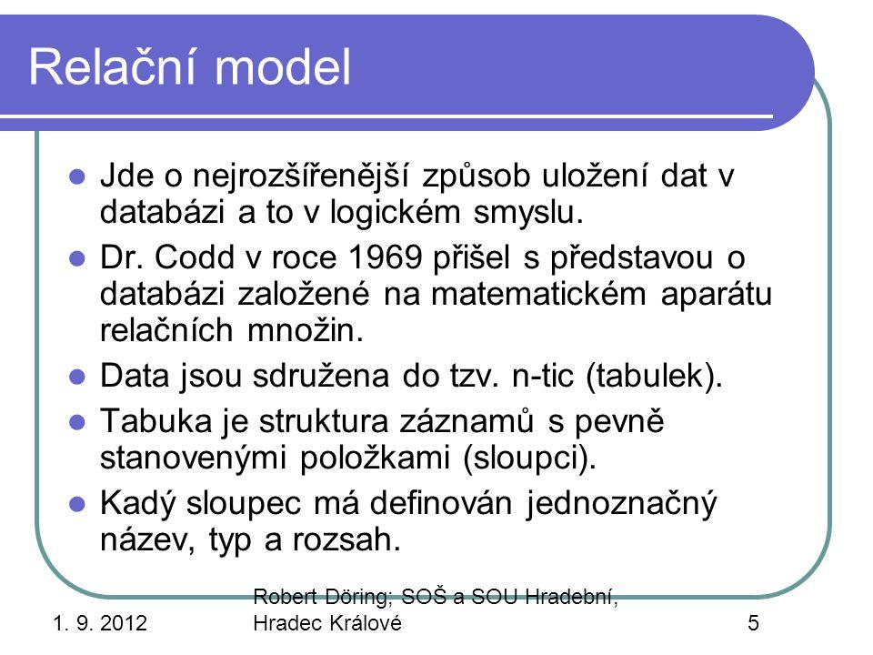 1. 9. 2012 Robert Döring; SOŠ a SOU Hradební, Hradec Králové5 Relační model Jde o nejrozšířenější způsob uložení dat v databázi a to v logickém smyslu