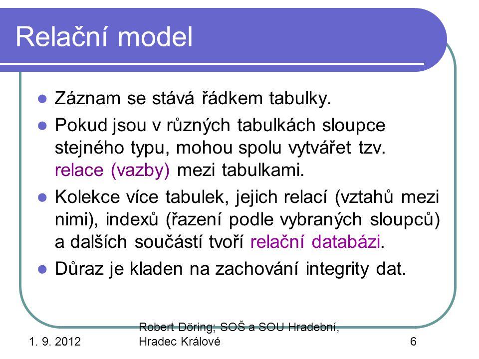 1. 9. 2012 Robert Döring; SOŠ a SOU Hradební, Hradec Králové6 Relační model Záznam se stává řádkem tabulky. Pokud jsou v různých tabulkách sloupce ste