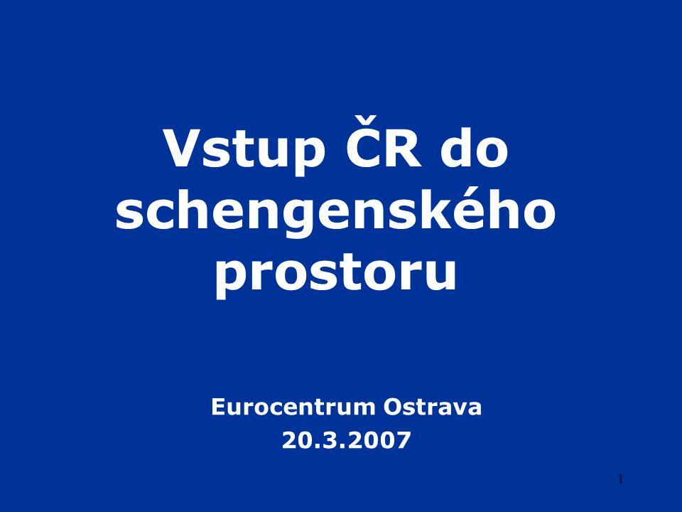 12 Příprava ČR na Schengen institucionální rámec  vláda ČR  každoroční Zpráva o připravenosti ČR k převzetí schengenského acquis (od roku 2001)  Harmonogram úkolů pro dokončení implementace schengenského acquis  pracovní skupina Hodnocení Schengenu – Česká republika (2005)  meziresortní koordinace  příprava schengenského hodnocení  za činnost odpovídá Ministerstvo vnitra  hlavní orgány účastnící se přípravy  Ministerstvo vnitra (Policie ČR), Ministerstvo zahraničních věcí, Ministerstvo dopravy, Úřad pro ochranu osobních údajů