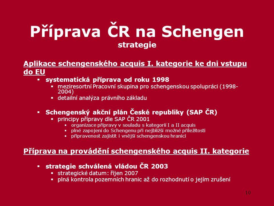 10 Příprava ČR na Schengen strategie Aplikace schengenského acquis I.