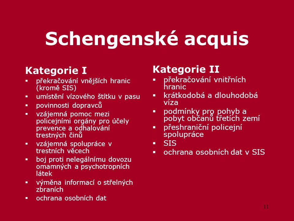 11 Schengenské acquis Kategorie I  překračování vnějších hranic (kromě SIS)  umístění vízového štítku v pasu  povinnosti dopravců  vzájemná pomoc mezi policejními orgány pro účely prevence a odhalování trestných činů  vzájemná spolupráce v trestních věcech  boj proti nelegálnímu dovozu omamných a psychotropních látek  výměna informací o střelných zbraních  ochrana osobních dat Kategorie II  překračování vnitřních hranic  krátkodobá a dlouhodobá víza  podmínky pro pohyb a pobyt občanů třetích zemí  přeshraniční policejní spolupráce  SIS  ochrana osobních dat v SIS