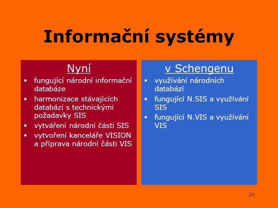 20 Informační systémy Nyní  fungující národní informační databáze  harmonizace stávajících databází s technickými požadavky SIS  vytváření národní části SIS  vytvoření kanceláře VISION a příprava národní části VIS v Schengenu  využívání národních databází  fungující N.SIS a využívání SIS  fungující N.VIS a využívání VIS