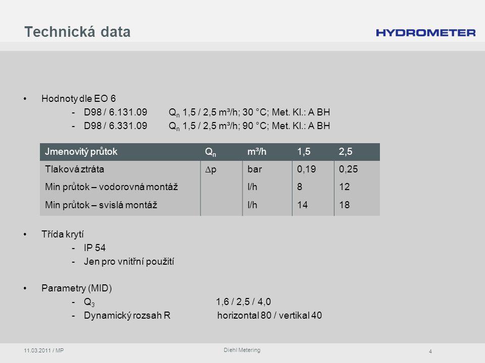 4 Diehl Metering 11.03.2011 / MP Hodnoty dle EO 6 -D98 / 6.131.09Q n 1,5 / 2,5 m³/h; 30 °C; Met.