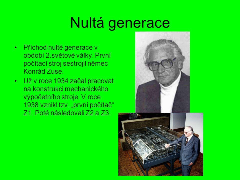 Nultá generace Příchod nulté generace v období 2.světové války. První počítací stroj sestrojil němec Konrád Zuse. Už v roce 1934 začal pracovat na kon