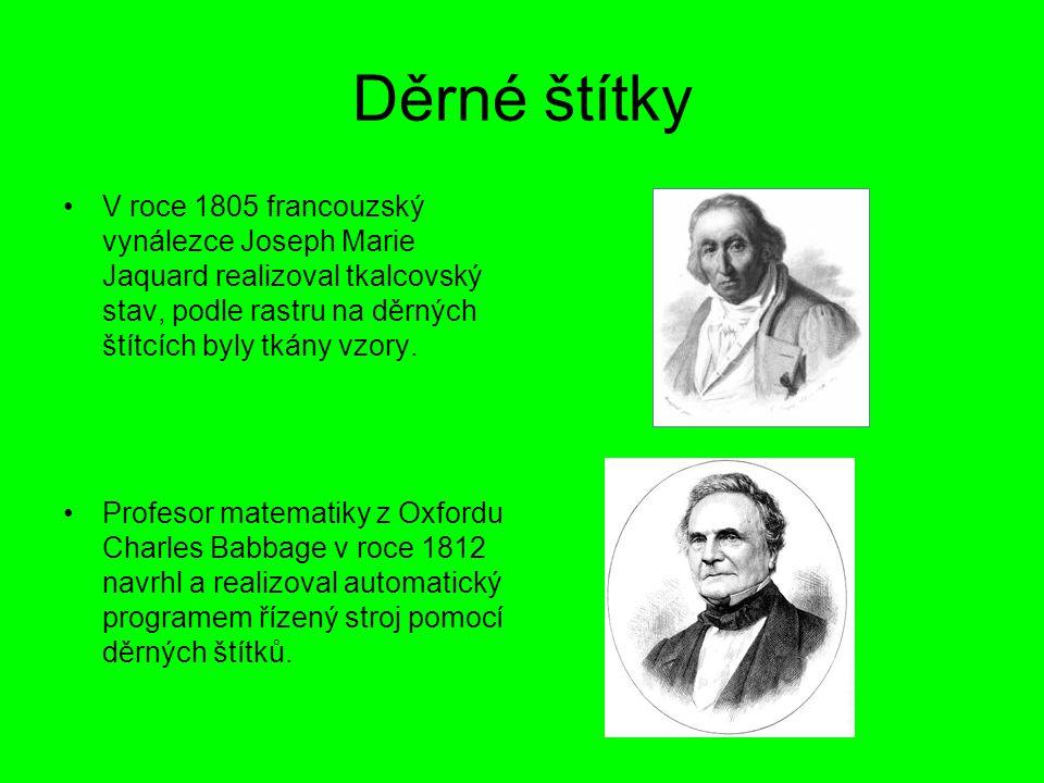 Americký statistik a vynálezce Herman Hollerith roku 1889 využil děrných štítků při sčítání lidu v USA.