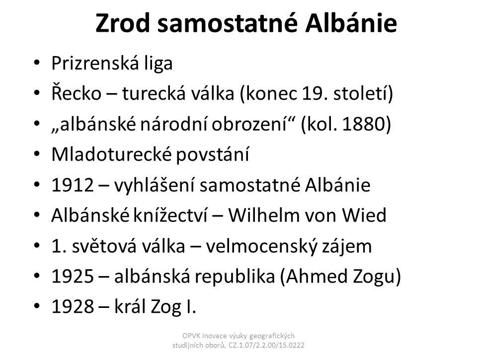"""Zrod samostatné Albánie Prizrenská liga Řecko – turecká válka (konec 19. století) """"albánské národní obrození"""" (kol. 1880) Mladoturecké povstání 1912 –"""