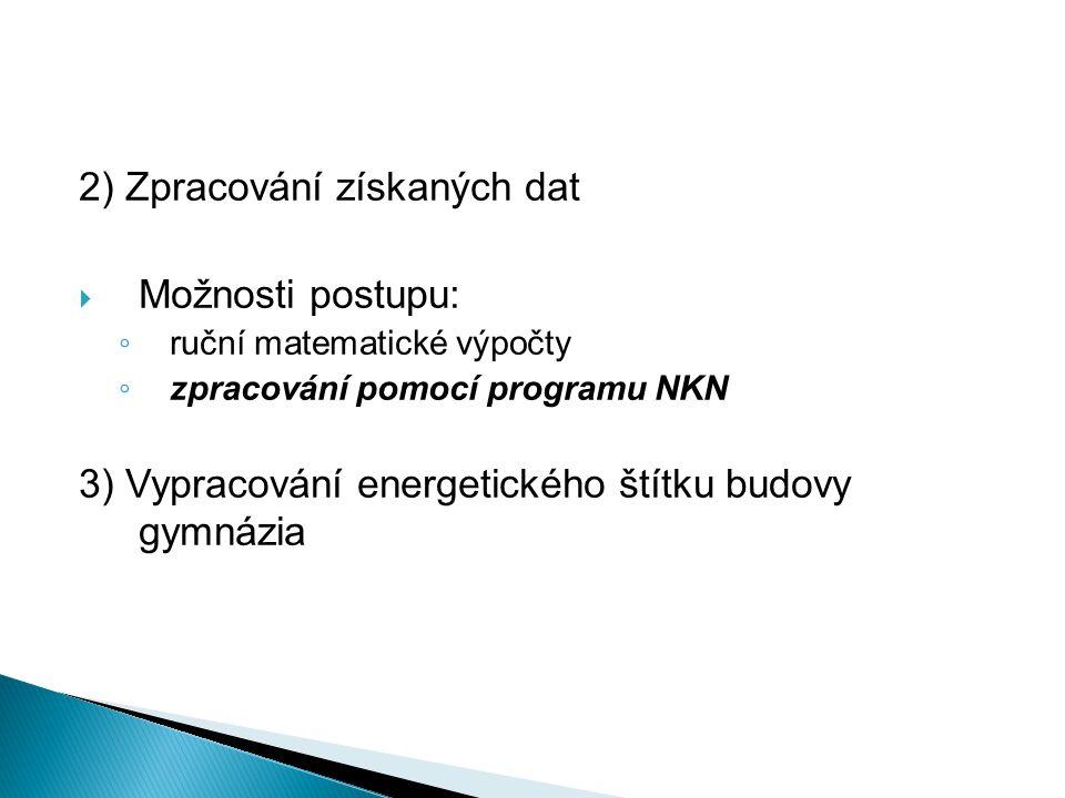 2) Zpracování získaných dat  Možnosti postupu: ◦ ruční matematické výpočty ◦ zpracování pomocí programu NKN 3) Vypracování energetického štítku budovy gymnázia