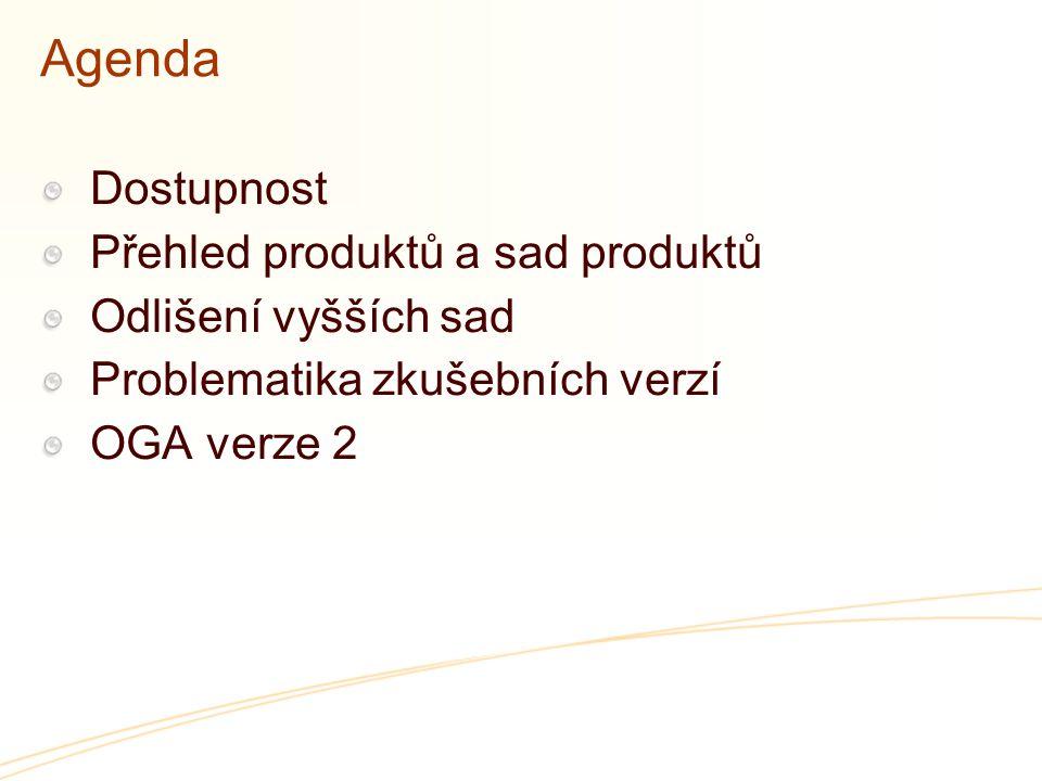 Agenda Dostupnost Přehled produktů a sad produktů Odlišení vyšších sad Problematika zkušebních verzí OGA verze 2
