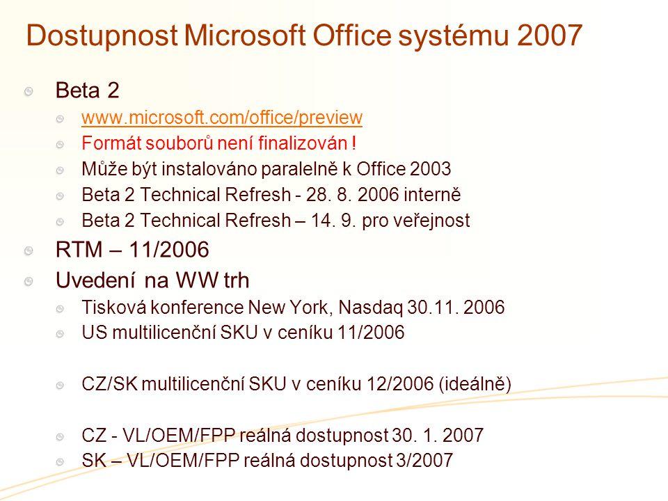 Dostupnost Microsoft Office systému 2007 Beta 2 www.microsoft.com/office/preview Formát souborů není finalizován ! Může být instalováno paralelně k Of