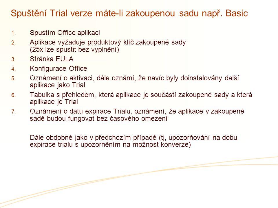 Spuštění Trial verze máte-li zakoupenou sadu např. Basic  Spustím Office aplikaci  Aplikace vyžaduje produktový klíč zakoupené sady (25x lze spust