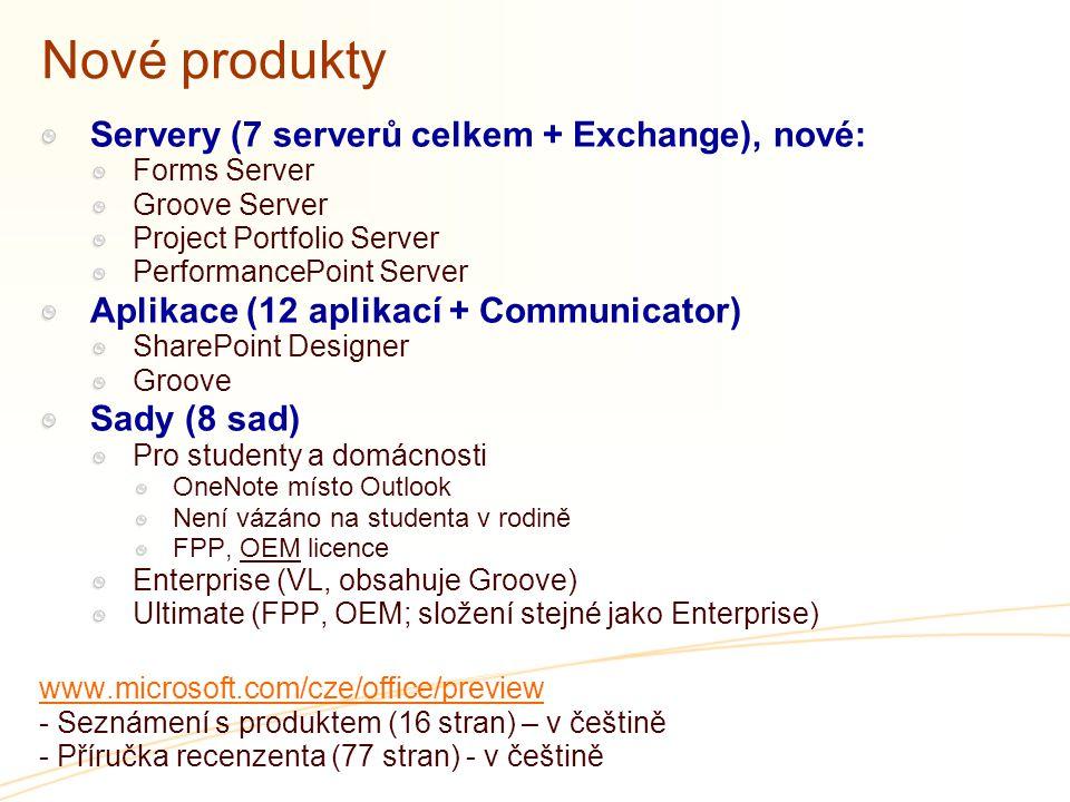 Nové produkty Servery (7 serverů celkem + Exchange), nové: Forms Server Groove Server Project Portfolio Server PerformancePoint Server Aplikace (12 aplikací + Communicator) SharePoint Designer Groove Sady (8 sad) Pro studenty a domácnosti OneNote místo Outlook Není vázáno na studenta v rodině FPP, OEM licence Enterprise (VL, obsahuje Groove) Ultimate (FPP, OEM; složení stejné jako Enterprise) www.microsoft.com/cze/office/preview - Seznámení s produktem (16 stran) – v češtině - Příručka recenzenta (77 stran) - v češtině