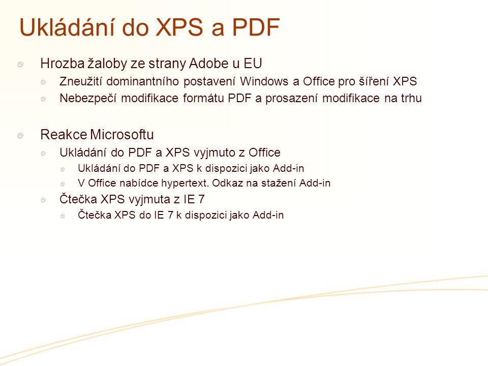 Ukládání do XPS a PDF Hrozba žaloby ze strany Adobe u EU Zneužití dominantního postavení Windows a Office pro šíření XPS Nebezpečí modifikace formátu PDF a prosazení modifikace na trhu Reakce Microsoftu Ukládání do PDF a XPS vyjmuto z Office Ukládání do PDF a XPS k dispozici jako Add-in V Office nabídce hypertext.