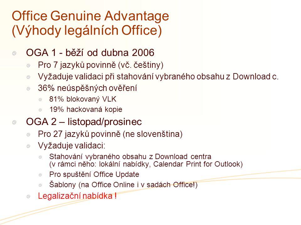 Office Genuine Advantage (Výhody legálních Office) OGA 1 - běží od dubna 2006 Pro 7 jazyků povinně (vč. češtiny) Vyžaduje validaci při stahování vybra