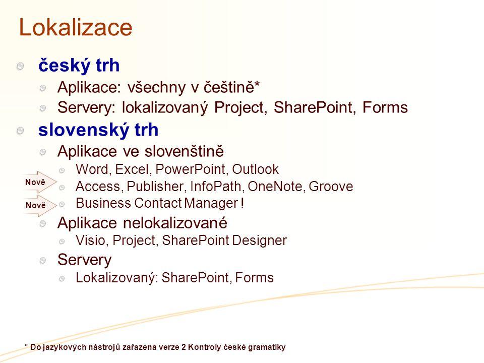 Lokalizace český trh Aplikace: všechny v češtině* Servery: lokalizovaný Project, SharePoint, Forms slovenský trh Aplikace ve slovenštině Word, Excel, PowerPoint, Outlook Access, Publisher, InfoPath, OneNote, Groove Business Contact Manager .