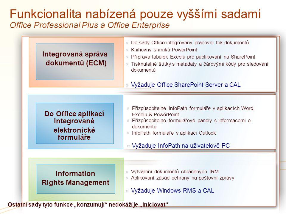 Funkcionalita nabízená pouze vyššími sadami Office Professional Plus a Office Enterprise Integrovaná správa dokumentů (ECM) Do Office aplikací Integro