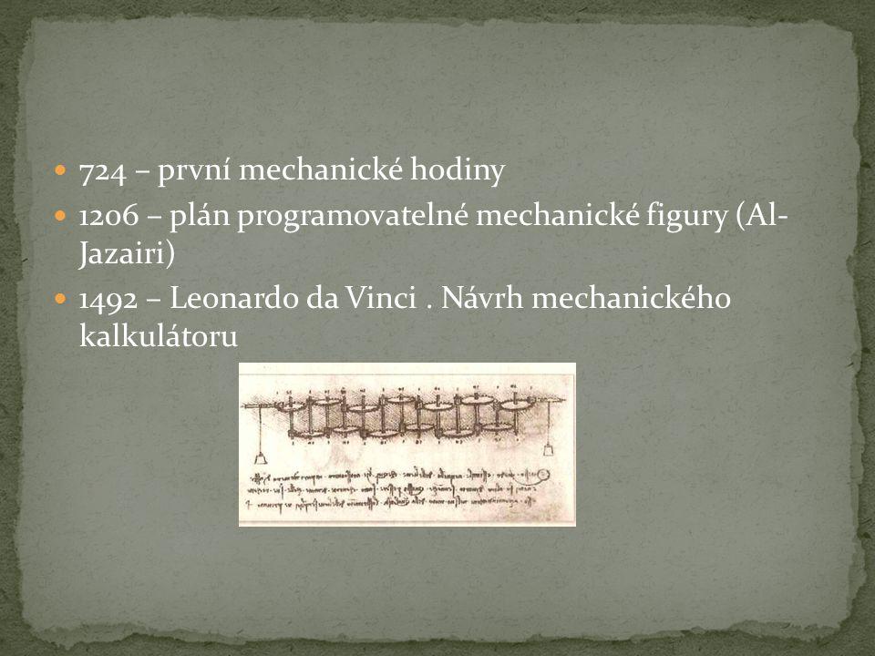 724 – první mechanické hodiny 1206 – plán programovatelné mechanické figury (Al- Jazairi) 1492 – Leonardo da Vinci. Návrh mechanického kalkulátoru
