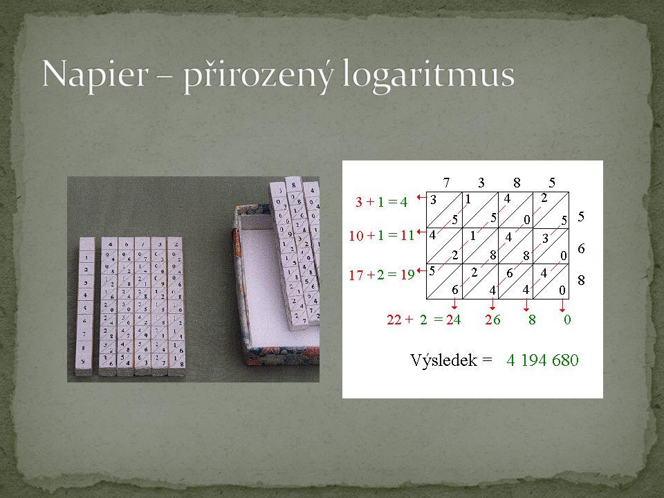 První logaritmické pravítko – William Oughtred – 1622 Násobení, dělení, mocnění, odmocnění – převede na sčítání, odečítání