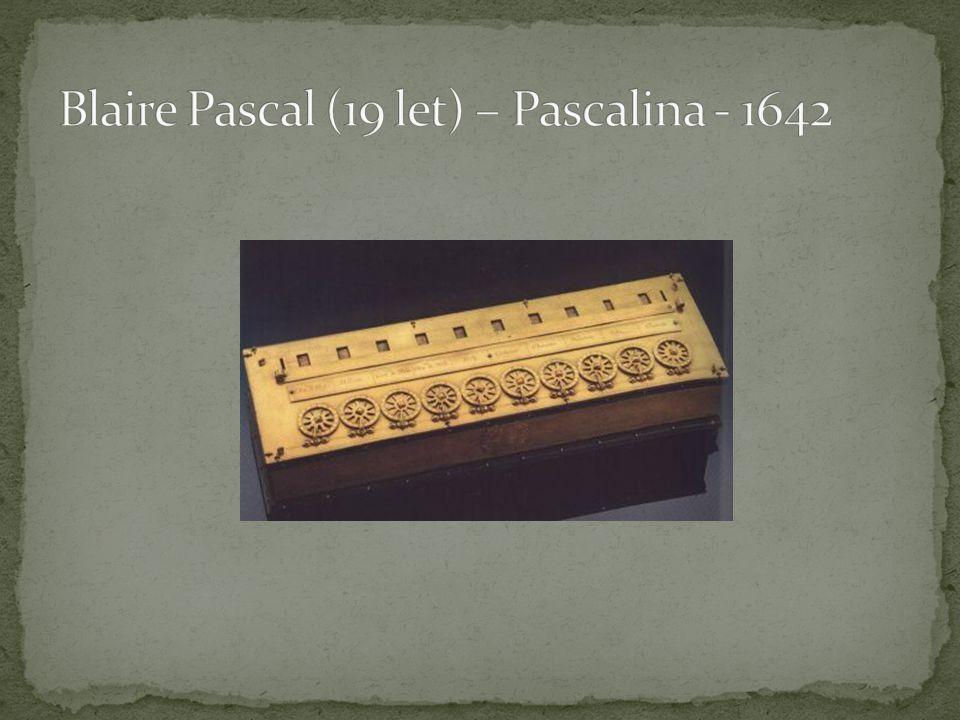 """1671 – Liebnitz – krokový """"počítač – násobení 1805 – J."""