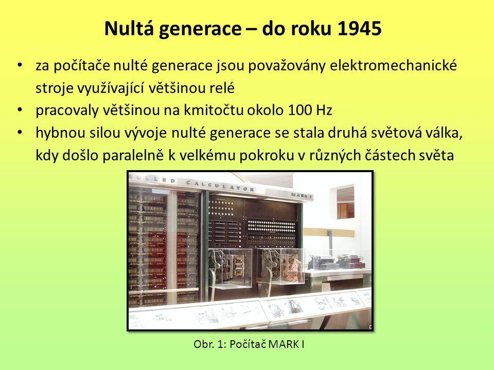 za počítače nulté generace jsou považovány elektromechanické stroje využívající většinou relé pracovaly většinou na kmitočtu okolo 100 Hz hybnou silou